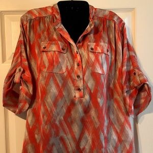 New York & Company Orange/Beige Button Front Shirt